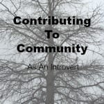 Contributing To Community-As An Introvert