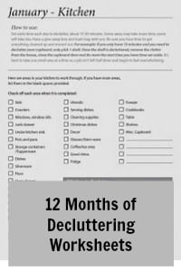12 months of decluttering worksheets rachel jones