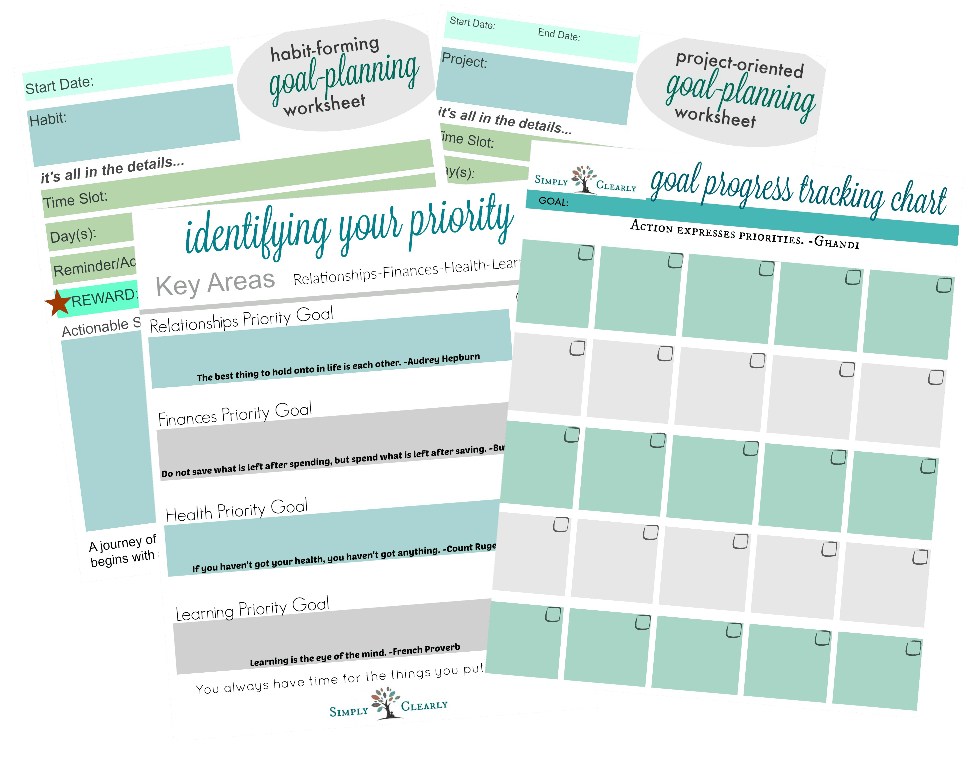 Goal Planning Worksheet Bundle